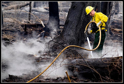 © Paul Conrad/Pablo Conrad Photography  A Glenwood Springs fire fighter douses smoldering embers from the 100 Road fire on Equestrian Way in the Aspen Equestrian Estates subdivision.