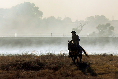© Paul Conrad/Pablo Conrad Photography - Ryan Edigar rides through what remains of one his father's fields after a fire burned the area between Wheatridge and Omo Roads and north of Willow, Okla.