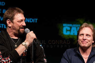 © Paul Conrad/Pablo Conrad Photography  Capt. Johnathan Hillstrand pokes fun at Capt. Sig Hansen during the Deadliest Catch Con at the Bell Harbor Conference Center on Saturday April 9, 2011, in Seattle, Wash.