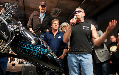 © Paul Conrad/Pablo Conrad Photography  Paul Teutul, Sr., with American Chopper present a custom made bike to the Deadliest Catch captains during Catch Con at the Bell Harbor Conference Center on Saturday April 9, 2011, in Seattle, Wash.