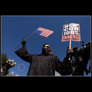 © 2008 Paul Conrad/Pablo Conrad Photography  9-11 conspiracy theorist José Rodriguez of Wash., D.C., demonstrates against the findings of the 9-11 Commission on Tuesday morning Aug. 26, 2008, at Civic Center Park near downtown Denver, Colo.