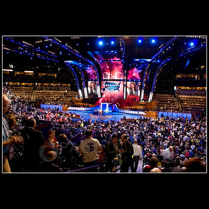 © 2008 Paul Conrad/Pablo Conrad Photography  The floor is packed as delegates vote during the presidential nomination process of the Democratic National Convention on Wednesday afternoon Aug. 27, 2008, at the Pepsi Center in Denver, Colo.