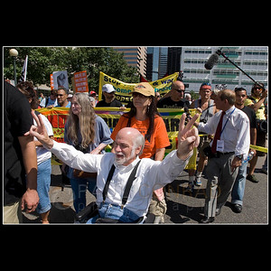 © 2008 Paul Conrad/Pablo Conrad Photography  Political activist and author Ron Kovic leads hundreds of protestors as they march down West Colfax Avenue during the Democratic National Convention on Sunday morning Aug. 24, 2008, in Denver, Colo.