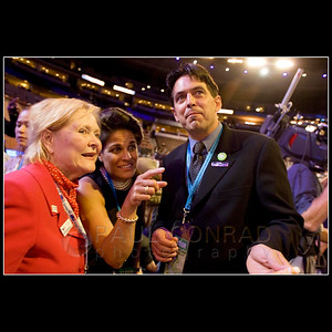 © 2008 Paul Conrad/Pablo Conrad Photography  Colorado Democratic Party chairperson Pat Waak, left, and delegates Blanca O'Leary of Aspen, and Bryan Gonzales of Basalt watch other delegates during the Democratic National Convention on Monday afternoon Aug. 25, 2008, at the Pepsi Center in Denver.