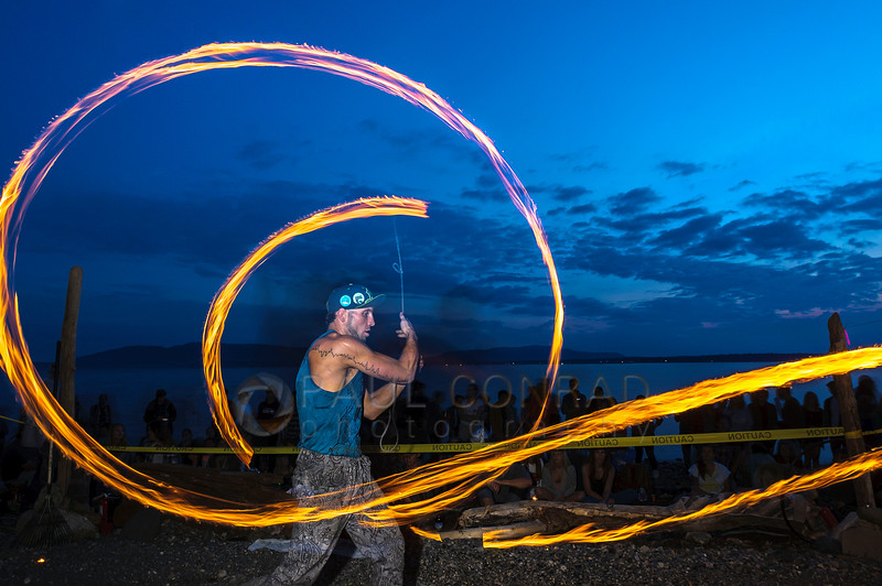 Matt Coble of Seattle performs during sunset at Locust Beach on Sunday evening July 17, 2016, in Bellingham, Wash. A group of artists are atttempting to make the third Sunday of each month a meeting time to perform at Locust Beach.