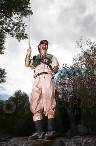 © Paul Conrad/Pablo Conrad Photography - Pomerey Sports fly fishing guide Mike Haas of Aspen, Colo. on the Roaring Fork River.