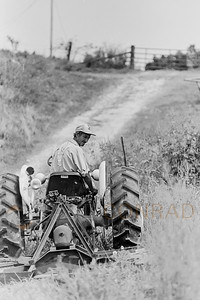 Billy Ray Cardwell mows the fields around his hoe on Ridge Road  during October 1996 in Warren County northeast of Bowling Green, Ky. The Cardwells are tenant farmers living with 8 other family members in a patched-together, 120 year old home on Ridge Road. The family makes less than $7,500 per year. (© Paul Conrad/Paul Conrad Photography)
