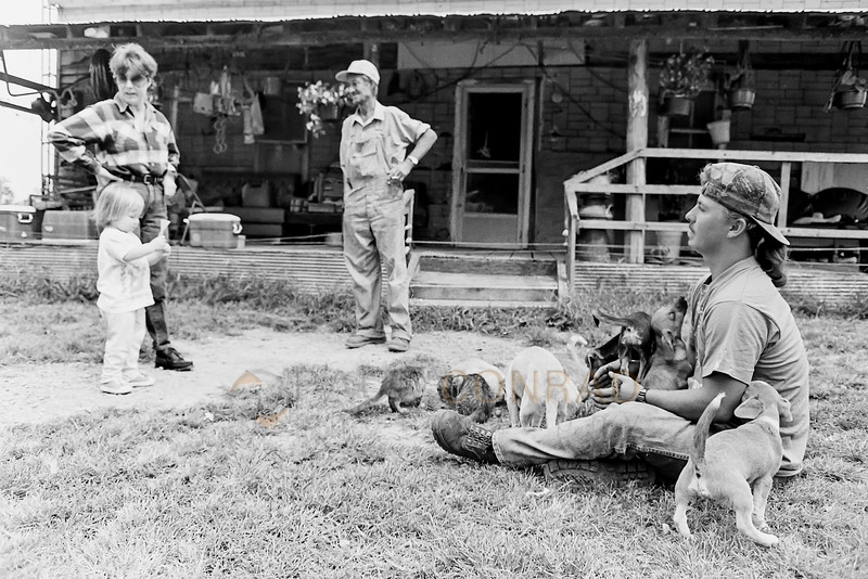 Puppy Play - Billy Ray Cardwell, 2nd from left, talks with a neighbor as his grandson Jimmy Ray Cardwell, 17, plays with puppies and kittens at their Ridge Road home. (© Paul Conrad/Paul Conrad Photography)