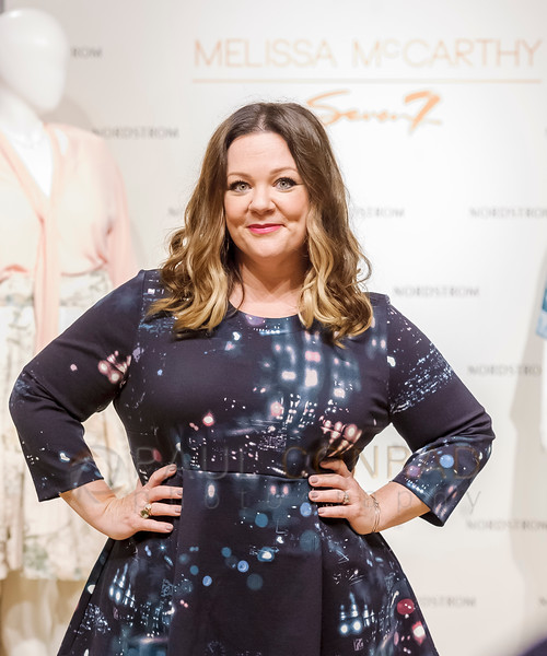 Actress Melissa McCarthy poses in one of her creations as while promoting her fashion line Melissa McCarthy Seven7 at Nordstrom Downtown Seattle on July 22, 2016 in Seattle, Washington. (Photo by Paul Conrad/Getty Images for Nordstrom)