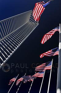 © Paul Conrad/ Pablo Conrad Photography  Old Glory flaps in the breeze at the Identity Sculpture in the Denver Tech Center in Denver, Colo.