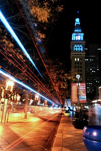 © Paul Conrad/ Pablo Conrad Photography  A bus streaks by on the 16th Street Mall in downtown Denver, Colo.