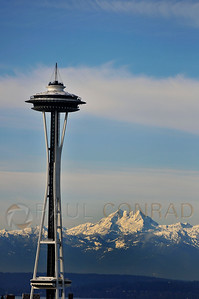 © Paul Conrad/ Pablo Conrad Photography  A rare clear day lets the Space Needle in Seattle, Wash., stand out against Mount Olympus and the Olympic Mountains.