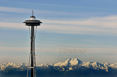 © Paul Conrad/ Sky Fire Photography A rare sight. The Space Needle and the Olympic Range on a clear Friday morning New Year's  Eve on December 31, 2010, as seen from Capitol Hill in Seattle, Wash.  Send Me Your Thoughts and Questions