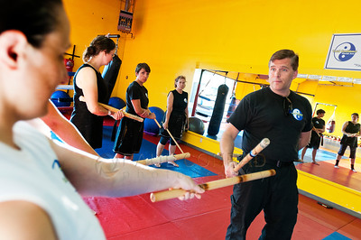 © Paul Conrad/Pablo Conrad Photography - Arjhan David Neal Brown teaching Escrima Filipino Stick Fighting technigues during the PNW Muay Thai camps at Total Confidence Martial Arts in Bellingham, Wash.