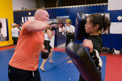 © Paul Conrad/Pablo Conrad Photography - Arjhan David Neal Brown teaches  during the first day the PNW Muay Thai camps at Total Confidence Martial Arts in Bellingham, Wash., on Friday evening Aug. 23, 2013