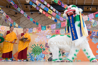 ©2009 Paul Conrad/Pablo Conrad Photography  Monks from the Deprung Losling Monastery perform before the keynote speech of His Holiness the14th Dalai Lama at the Aspen Institute in Aspen, Colo.