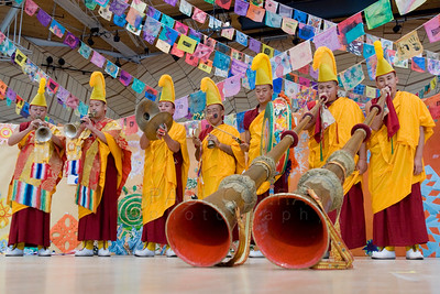 ©2009 Paul Conrad/Pablo Conrad Photography  Monks from the Deprung Losling Monastery perform for the audience prior to the keynote speech from His Holiness the14th Dalai Lama speaks at the Aspen Institute in Aspen, Colorado.