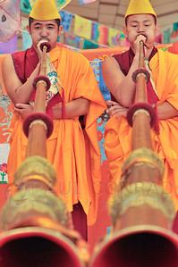 ©2009 Paul Conrad/Pablo Conrad Photography  Monks from the Deprung Losling Monastery perform before the keynote speech of His Holiness the14th Dalai Lama at the Aspen Institute in Aspen, Colorado.