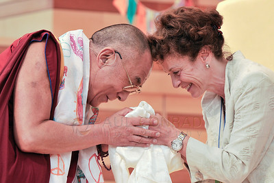 ©2009 Paul Conrad/Pablo Conrad Photography  His Holiness the14th Dalai Lama is greeted by Margot Pritzker at the Aspen Institute in Aspen, Colorado, beofre his keynote speech.