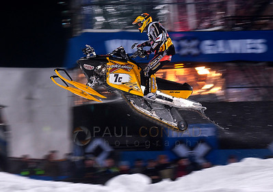 © Paul Conrad/Pablo Conrad Photography Blair Morgan leads the pack to the finish line of the Winter X Games sno-cross finals to earn the gold in Aspen, Colo.