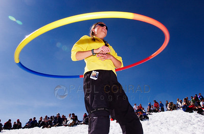 © 2011 Paul Conrad/ Pablo Conrad Photography Hooping away to the sounds of The Mix, Sarah Jonker of Aspen enjoys the last day at Snowmass Mountain during the end of season party.