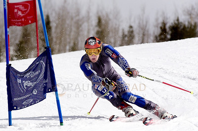 © Paul Conrad/Pablo Conrad Photography Sporting an airbrushed skull on his helmet, Toby Lamar of Aspen, Colo., takes a gate and the win during his second run of the advanced Grand Slalom of  the Aspen Times Town Race Series