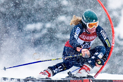 © Paul Conrad/Pablo Conrad Photography A forerunner for the Aspen Winternational Woman's World Cup crashes a gate while testing the course.