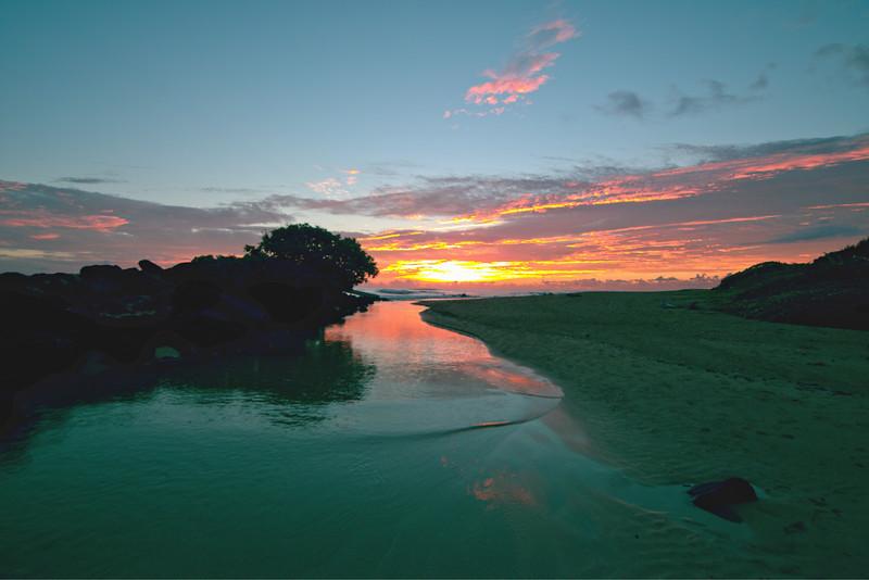 Sunrise at Kauai Beach, Kaua`i, Hawaii