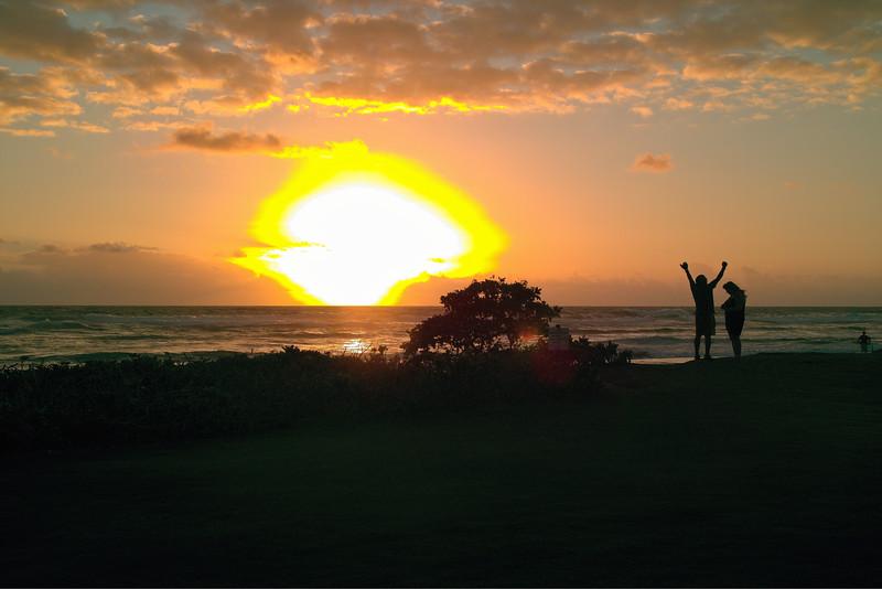 Sunrise at Kaua`i Beach, Kaua`i, Hawaii