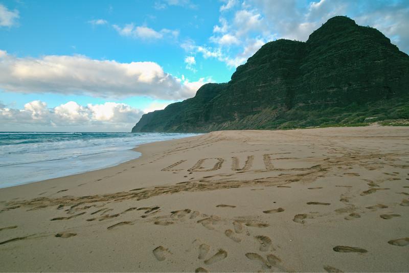 Love in the Sand at Polihale Beach, Kaua`i, Hawaii