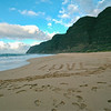 Love in the Sand at Polihale Beach, Kaua`i, Hawaii