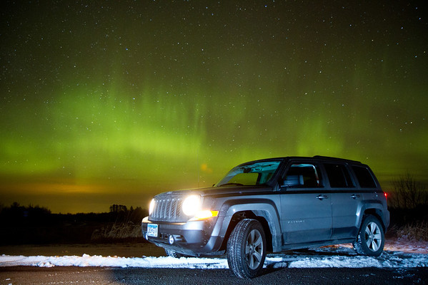 2/18/12 - Aurora Borealis near Cloquet, MN.  Also featuring our ride for the evening.