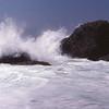Pacific Ocean waves crashing onto rocks near Los Angeles, California, 1978 - slide scan