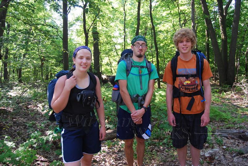 Lydia, Seth, & Matt about to start  Appalachian Trail hike - 8/11/2010