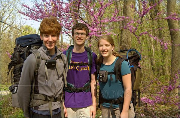 Abe, Michael & Lydia off on Appalachian Trail hike - 4/19/2012