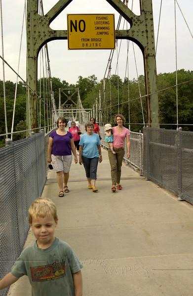 Family on Delaware River footbridge, Lumberville PA  -  5/27/2012