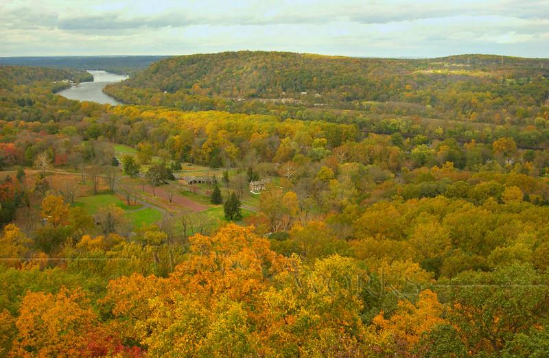 Delaware River & scene from Bowman's Tower, Bucks County, PA  - 10/21/2011