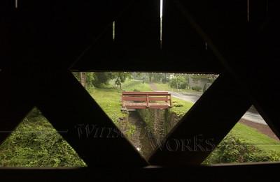 Inside Uhlerstown Covered Bridge on rainy day, Bucks County PA  - 07/29/2011