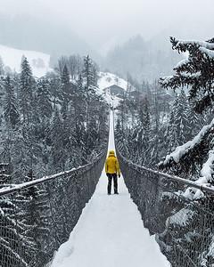 Landschaftspark Binntal, Suspended bridge during heavy snowfall