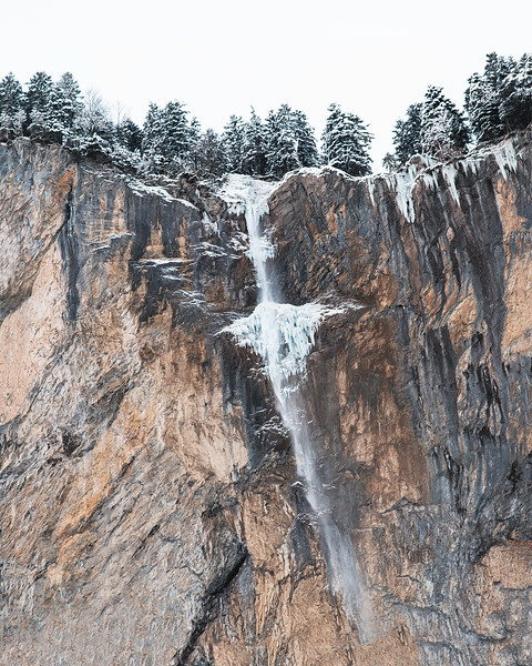 The Staubbach Waterfall. After heavy rains or in spring, when snow melts, it carries a lot more water than in this photo.
