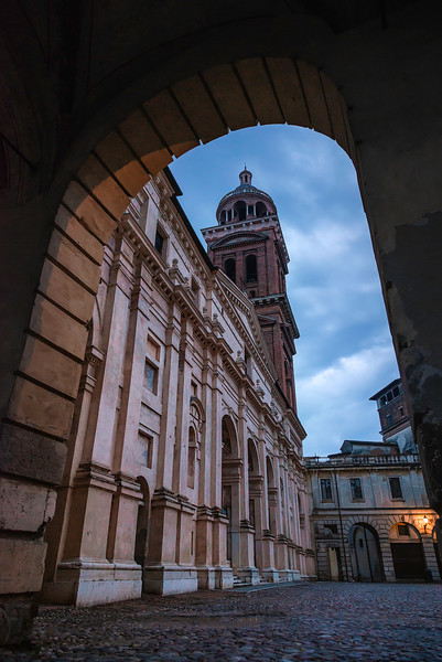 The stunning facade and bell towerof the Palatin Church of Santa Barbara, within the Ducal Palace of Mantua, Italy.