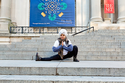 Yogi AsiaSol Mellina, on the steps of the Metropolitan Museum of Art