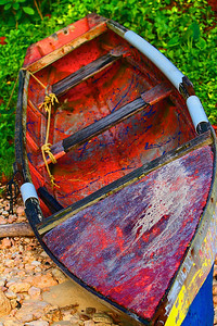 A fisherman's canoe in the rural Jamaica fishing village of Boston, Portland. Boston is also known as the birthplace of the famous Jamaica Jerk Seasoning. Best place on the island for all things jerk.