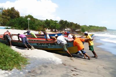 Fishermen at Little Ochie beach in St. Elizabeth, Jamaica.