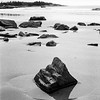 Rocks on Clam Harbour Beach. Ilford HP5 Plus film.