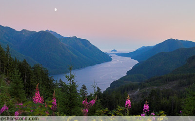 Moon over Tahsis Inlet,  Vancouver Island, British Columbia, Canada