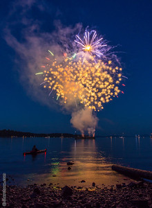 Kayaker enjoying the show  During Ladysmith days the town puts on a show of fireworks over the water. It is always a great show.