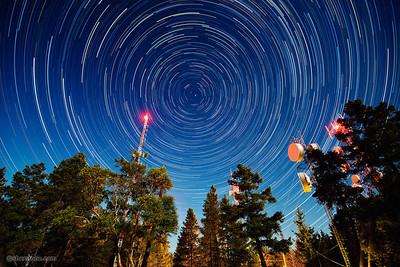 """Little Mountain Stars""  In September, I was invited to join a group of photographers to photograph the stars on a full moon evening. The light from the moon both illuminated the trees and the sky giving it an almost twilight look. The image is made up of about 120, 30 second exposures and then merged together."