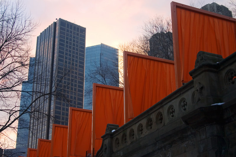 "Pictures of ""The Gates"", an art exhibit sprawling over all of Central Park in nyc."