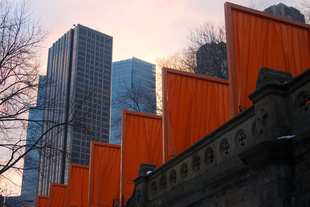 """Pictures of """"The Gates"""", an art exhibit sprawling over all of Central Park in nyc."""